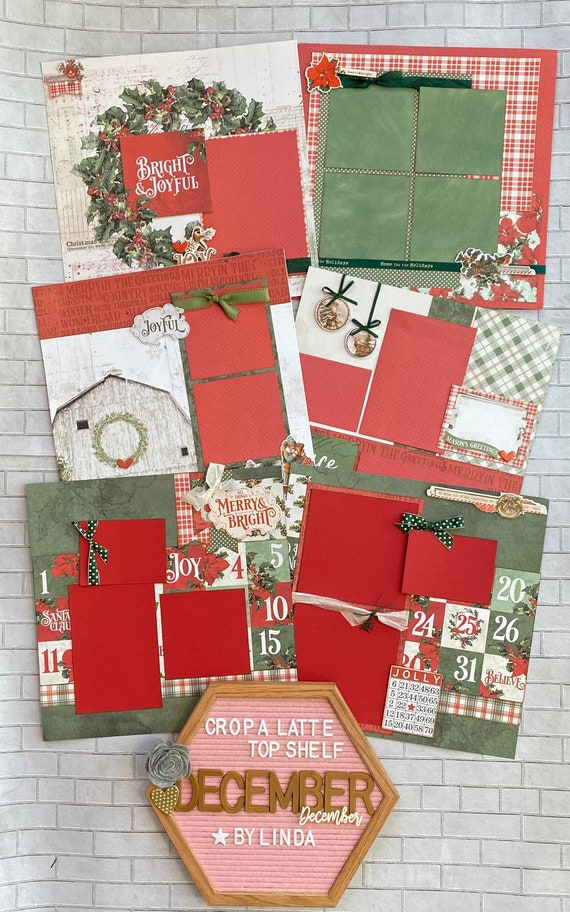 Top Shelf Kit Club December- 3 - 2 Page Scrapbooking Layout Kits -Simple Stories - Christmas Farmhouse