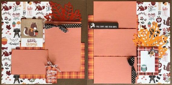 Autumn Blessings - Autumn Skies and Pumpkin Pies 2 Page Scrapbooking Layout Kit or Pre-Made Scrapbooking Pages