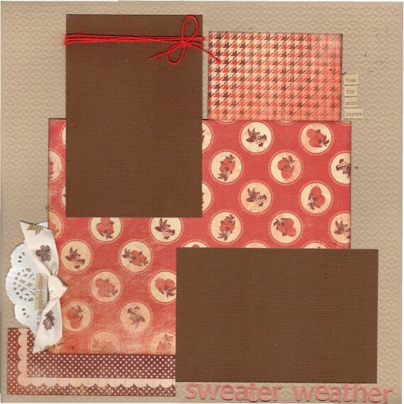 Sweater Weather - AUTUMN, 2 Page Scrapbooking Layout Kit