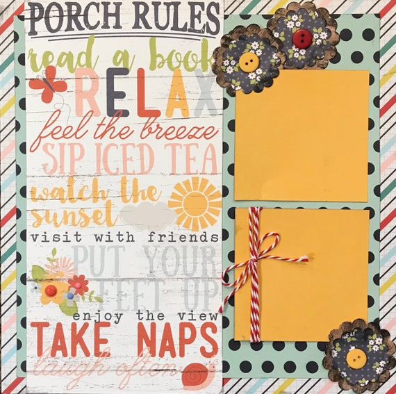 Porch Rules - Summer Theme **Single** Page Scrapbooking Layout Kit