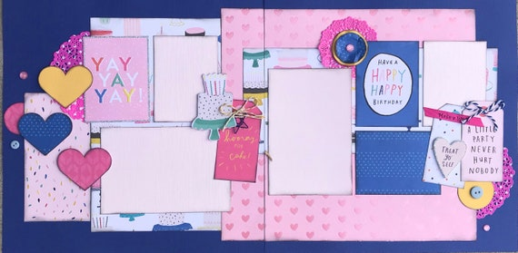 YAY YAY YAY  - Hooray for Cake! 2 Page Scrapbooking layout KIt or Premade Scrapbooking Pages