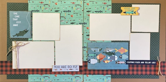 The One That got Away - You're So Fly / Fishing 2 page Scrapbooking Layout Kit or Premade Scrapbooking Pages
