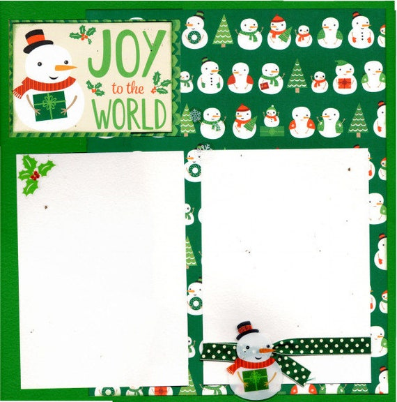 Joy to the World - Snowmen / Snowladies  - Christmas  Layout  2 Page Scrapbooking Kit