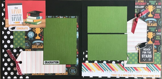 Primary School Graduation - The Tassle is Worth the Hassle -2 page scrapbooking layout kit or Premade Pages