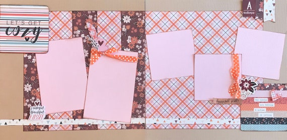 Let's Get Cozy - Happy Fall Y'All 2 Page Scrapbooking Layout Kit or Pre Made Scrapbooking Pages