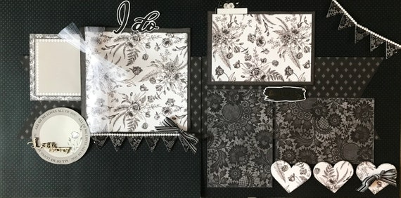 I Do! Love Story - Wedding 2 Page Scrapbooking Layout Kit or Premade Scrapbooking Pages