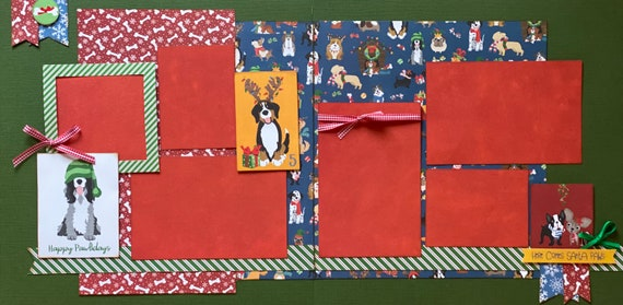 Happy Pawlidays  - Here Comes Santa Paws 2 Page Scrapbooking Layout Kit or Premade Scrapbooking Pages