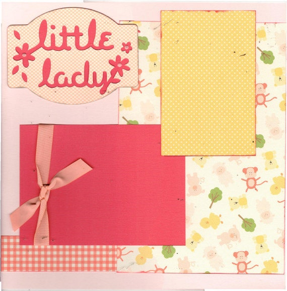 Little Lady Baby Girl, 2 Page Scrapbooking Layout Kit