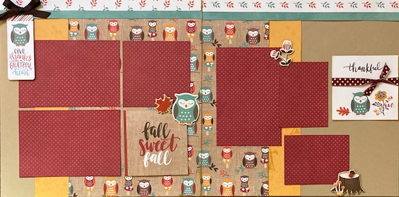 Give Thanks with a Grateful Heart 2 Page Scrapbooking Layout Kit or Pre-Made Scrapbooking Pages