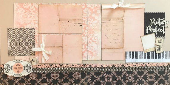 My Tiny Little Princess 2 page scrapbooking layout kit or Premade Scrapbooking Pages