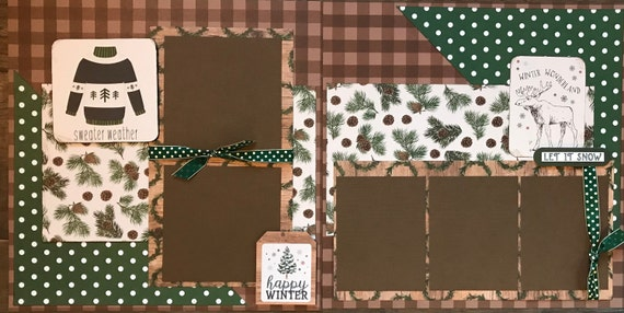 Sweater Weather - Winter Wonderland 2 Page Scrapbooking layout Kit or Premade Scrapbooking Pages