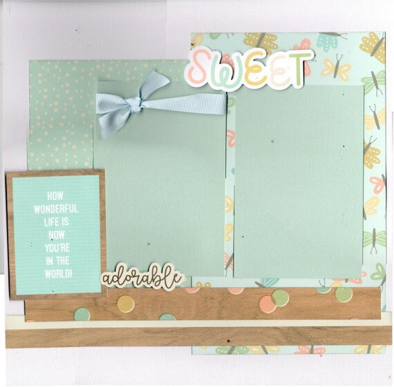 How Wonderful Life is Now that You're in the World!  Baby - 2 page Scrapbooking Layout Kit or Pre Made Pages