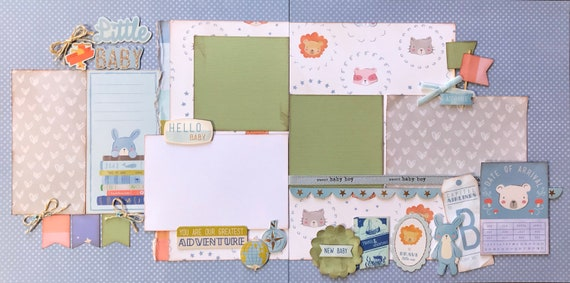 Little Baby Boy - You are our Greatest Adventure 2 page Scrapbooking Layout Kit or Pre Made Pages