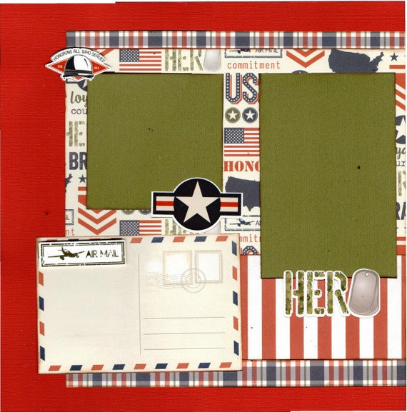Home Free Because of the Brave - Military Theme 2 page Scrapbooking Layout Kit