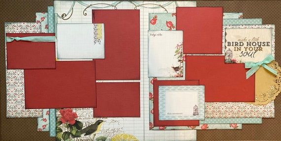 Make a Little Birdhouse in your Soul  2 Page Scrapbooking Layout Kit or Premade Scrapbooking Pages