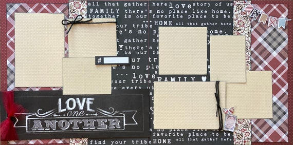 Love One Another 2 Page Scrapbooking Layout Kit or Premade Scrapbooking Pages