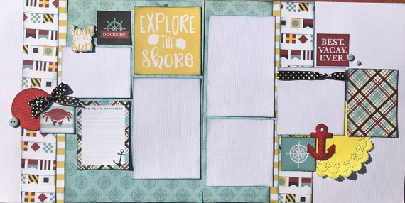 Explore the Shore - Dockside 2 page scrapbooking layout Kit or Premade Scrapbooking Pages