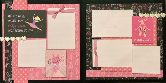 We All Have Wings But Only Some Will Learn to Fly - Ballet 2 page scrapbooking layout kit or Premade Scrapbooking Pages