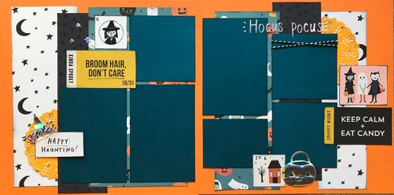 Broom Hair- Don't Care - Hocus Pocus Halloween 2 Page Scrapbooking Layout Kit or Premade Scrapbooking Pages