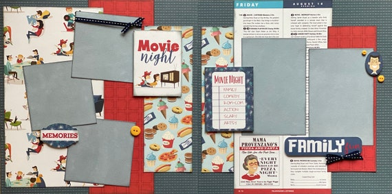 Movie Night - Family Fun 2 Page Scrapbooking Layout Kit or Premade pages
