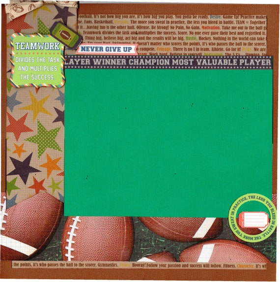 Football TEAM - Divides the task and Multipies the Success - 2 page Scrapbooking Layout Kit