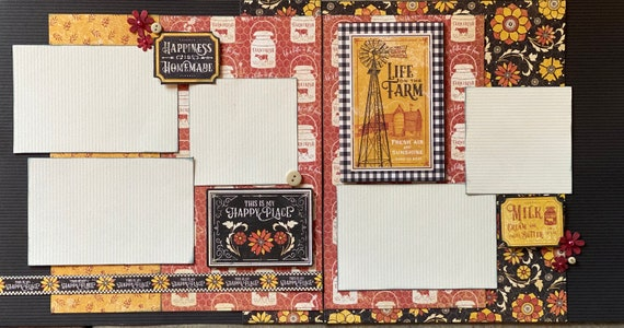 Life on the Farm- This is my Happy Place 2 Page Scrapbooking Layout Kit or Premade Scrapbooking Pages