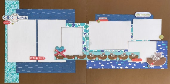 Feelin' Free - Canoe / Kayak - Going to the Lake  2 Page Scrapbooking layout Kit or Premade Scrapbooking Pages