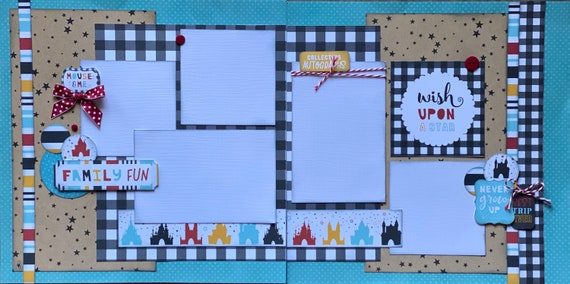Family Fun, Collecting Autographs Wish Upon a Star - Disney Inspired 2 page Scrapbooking layout Kit or Premade Scrapbooking Pages