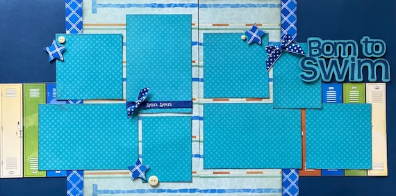 Born to Swim, 2 Page Scrapbooking Layout Kit or Premade Scrapbooking Pages