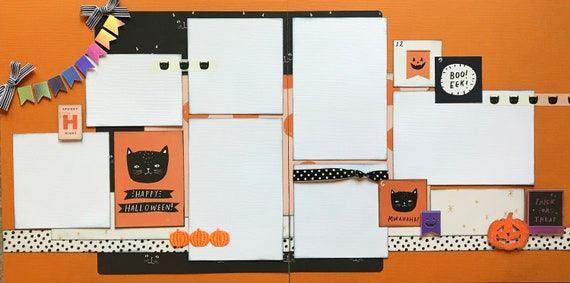 Happy Halloween - MWAHAHAHA 2 Page Scrapbooking Layout Kit or Premade Scrapbooking Pages