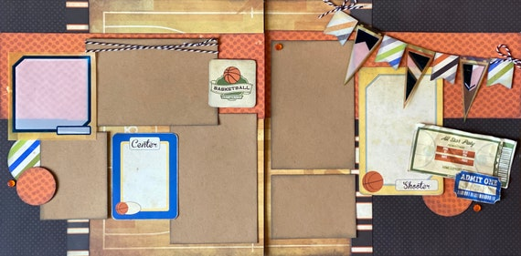 Basketball Championship 2 page Scrapbooking Layout Kit or Premade Scrapbooking Pages