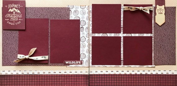 The Journey of a Thousand Miles Begins with a Single Step 2 page Scrapbooking Layout Kit or Premade Scrapbooking Pages