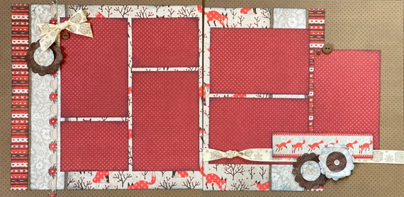 Winter Fox 2 page Scrapbooking Layout Kit or Premade Scrapbooking Pages