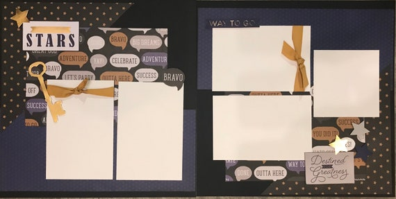 Reach for the Stars - Destined for Greatness 2 page scrapbooking kit or Premade Scrapbooking Pages