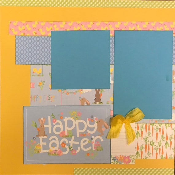 Happy Easter - Color Me Happy 2 Page Scrapbooking Layout Kit or Premade Scrapbooking Pages
