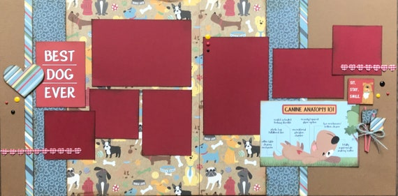 Best Dog Ever - Sit, Stay, Smile 2 Page Scrapbooking Layout Kit or Premade Scrapbooking Pages