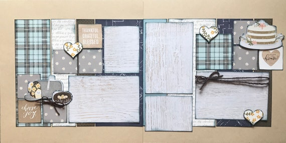 Thankful, Grateful,  Blessed 2 page scrapbooking layout kit or Premade Scrapbooking Pages