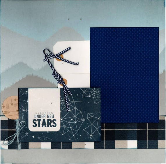 Sleeping Under the Stars 2 page Scrapbooking Layout Kit