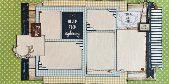 Never Stop Exploring 2 page Scrapbooking Layout Kit or Pre Made Pages