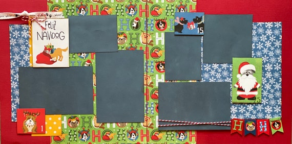 Feliz NaviDOG 2 Page Scrapbooking Layout Kit or Premade Scrapbooking Pages