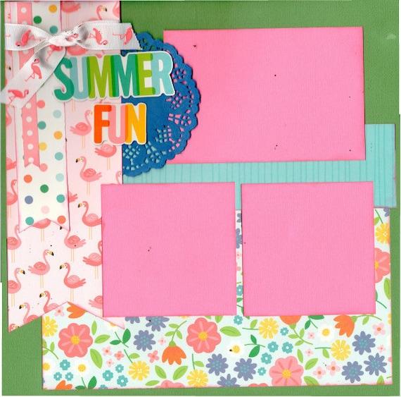 Summer Fun - Flamingos. 2 Page Scrapbooking Layout Kit
