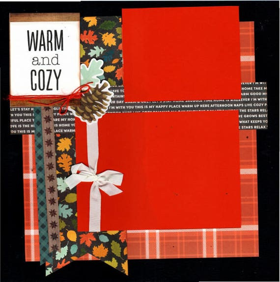 Warm and Cozy, Thankful - 2 page scrapbooking layout kit