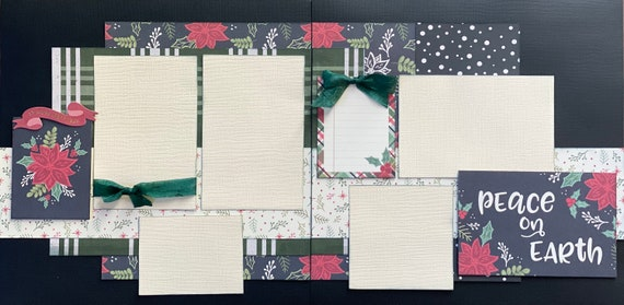 Peace on Earth - Seasons Greetings  2 Page Scrapbooking layout Kit or Premade Scrapbooking Pages