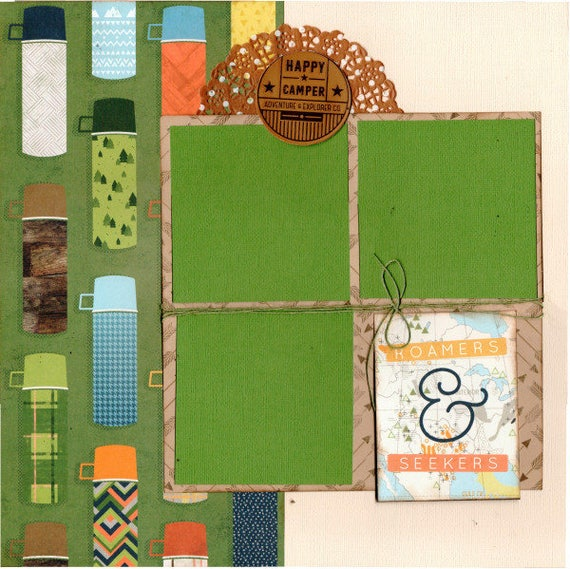Roamers and Seekers / Happy Camper 2 page Scrapbooking Layout Kit