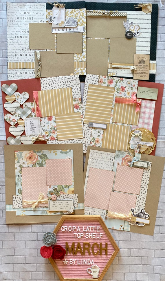 Top Shelf Kit Club March  - 3 - 2 Page Scrapbooking Layout Kits -My Minds Eye - Gingham Gardens