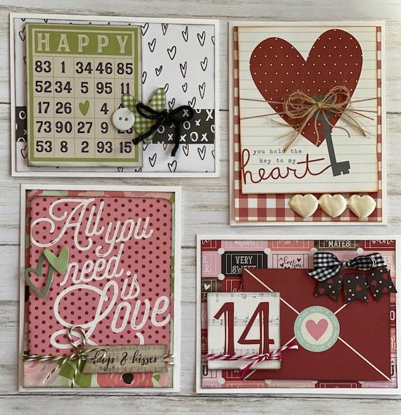 Valentine  Themed Card Kit set #2- 4 pack