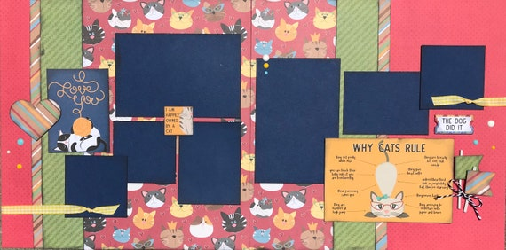 Why Cats Rule - I'm Proudly Owned by a Cat 2 Page Scrapbooking Layout Kit or Premade Scrapbooking Pages