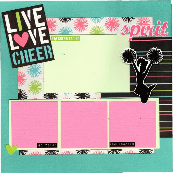 Live Love Cheer!  2 Page Scrapbooking Layout Kit