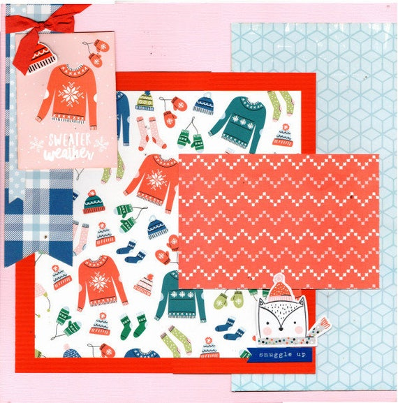 Sweater Weather Winter 2 Page Scrapbooking layout Kit