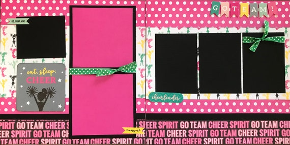 Eat, Sleep, Cheer!  Go Team 2 Page Scrapbooking Layout Kit or Premade Scrapbooking Pages
